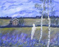 Haus, Wiese, Frau, Malerei