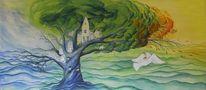 Baum, Haus, Jahreszeiten, Taube