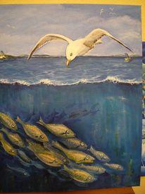Wasser, Möwe, Fische, Malerei