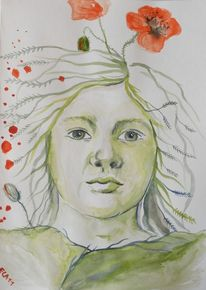 Mohn, Portrait, Aquarell