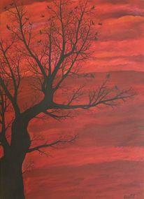 Vogel, Baum, Rot, Malerei