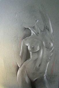 Zeichnung, Akt, Erotik, Bleistiftzeichnung