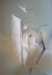 Akt, Erotik, Bleistiftzeichnung, Malerei