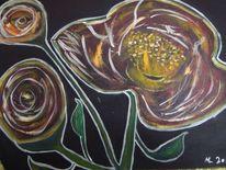 Ölmalerei, Blumen, Nacht, Leinen