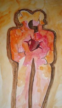 Dominikanisch, Figur, Liebespaar, Aquarell