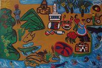 Republica dominikana, Leinen, Ölmalerei, Malerei