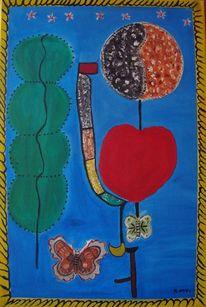 Ölmalerei, Schmetterlingsgarten, Blumen, Leinen