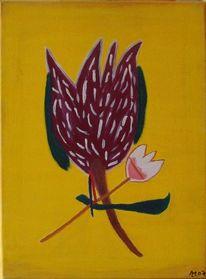 Leinen, Blumen, Ölmalerei, Tiegertulpe