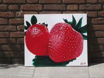 Erdbeeren, Acrylmalerei, Erdbeer, Duo