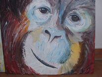 Acrylmalerei tier affe, Malerei, Tiere, Gesicht