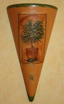 Ton, Acrylmalerei, Serviettentechnik, Olivenbaum