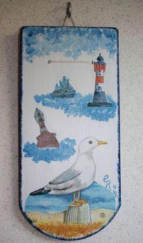 Boje, Acrylmalerei, Leuchtturm, Kutter