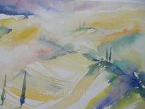 Grün, Aquarellmalerei, Landschaft, Gelb