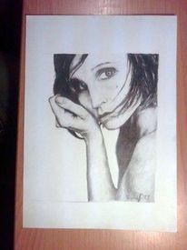 Frau, Portrait, Zeichenpapier, Schwarz weiß