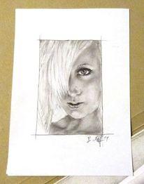 Portrait, Schwarz weiß, Zeichenpapier, Frau