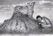 Bleistiftzeichnung, Zeichenpapier, Leopard, Schwarz weiß