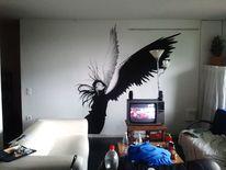 Engel, Wand, Acryl schwarz weiß, Frau