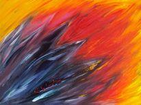 Rot, Acrylmalerei, Abstrakt, Action painting