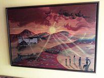 Afrika, Rot, Sonne, Acrylmalerei