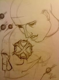 Schwarz, Portrait, Augen, Schädel