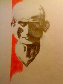 Ausdruck, Rot schwarz, Grafik, Potraits