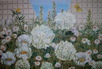 Wiese, Hortensien, Sommer, Acrylmalerei