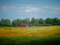 Landschaft, Dornum, Acrylmalerei, Ostfriesland