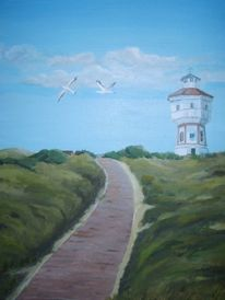 Wasserturm, Meer, Ostfriesland, Acrylmalerei