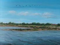 Landschaft, Nessmersiel, Ostfriesland, Acrylmalerei