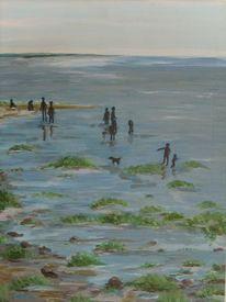 Acrylmalerei, Wattenmeer, Strand, Ostfriesland