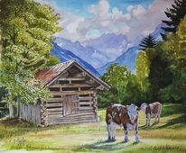 Weide, Gebirgsmalerei, Buchen odenwald, Bergaquarell