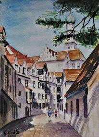 Schatten, Altstadt, Malerei, Augsburg