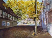 Architektur, Aquarellmalerei, Odenwald, Bauernkriege