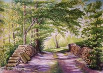 Landschaftsmalerei, Wasserfarbenmalerei, Baum, Ausstellung