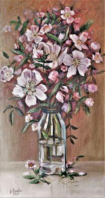 Flasche, Heckenrosen, Stillleben, Blumenstrauß