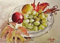 Aquarellmalerei, Obst, Stillleben, Bunt