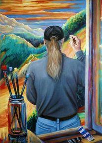 Selbstportrait, Spiegel, Nok, Ölfarben