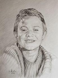 Bleistiftzeichnung, Schloßau, Junge, Kind