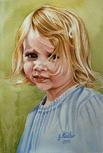 Mudau, Portrait, Aquarellmalerei, Dunkle augen