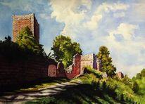 Aquarellmalerei, Kastel, Bauernkrieg, Eberbach