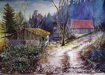 Weisbach, Schloßau, Eberbach, Landschaftsmalerei