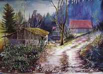 März, Odenwald, Natur, Aquarellmalerei