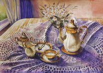 Frühstück, Morgensonne, Glück, Kaffeekanne