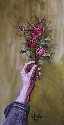Künstler artist, Hand, Nok, Rose
