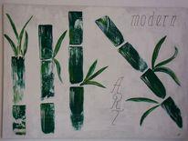 Abstrakt, Bambus, Mischtechnik