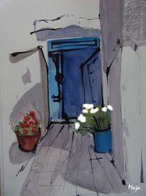 Hinterhof, Tusche, Tür, Blumentöpfe