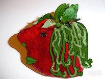 Gesicht, Erdbeeren, Rastalocken, Comic