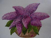 Aquarellmalerei, Lila, Tontopf, Flieder