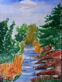 Busch, Fluss, Himmel, Landschaft