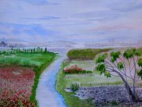 Fluss, Berge, Himmel, Landschaft